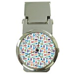 Blue Colorful Cats Silhouettes Pattern Money Clip Watches