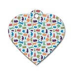 Blue Colorful Cats Silhouettes Pattern Dog Tag Heart (One Side)