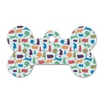 Blue Colorful Cats Silhouettes Pattern Dog Tag Bone (One Side)