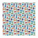 Blue Colorful Cats Silhouettes Pattern Medium Glasses Cloth (2-Side)