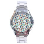 Blue Colorful Cats Silhouettes Pattern Stainless Steel Men s Watch