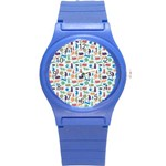 Blue Colorful Cats Silhouettes Pattern Round Plastic Sport Watch (S)
