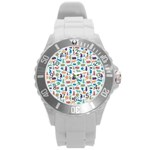 Blue Colorful Cats Silhouettes Pattern Round Plastic Sport Watch (L)