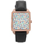Blue Colorful Cats Silhouettes Pattern Rose Gold Watches