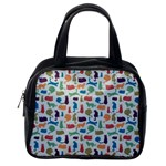 Blue Colorful Cats Silhouettes Pattern Classic Handbags (One Side)