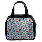 Blue Colorful Cats Silhouettes Pattern Classic Handbags (2 Sides)