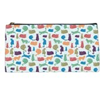 Blue Colorful Cats Silhouettes Pattern Pencil Cases