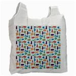 Blue Colorful Cats Silhouettes Pattern Recycle Bag (One Side)