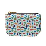 Blue Colorful Cats Silhouettes Pattern Mini Coin Purses