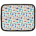Blue Colorful Cats Silhouettes Pattern Netbook Case (XL)