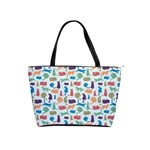 Blue Colorful Cats Silhouettes Pattern Shoulder Handbags
