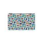 Blue Colorful Cats Silhouettes Pattern Cosmetic Bag (Small)