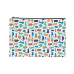 Blue Colorful Cats Silhouettes Pattern Cosmetic Bag (Large)