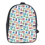 Blue Colorful Cats Silhouettes Pattern School Bags(Large)