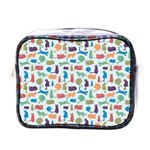 Blue Colorful Cats Silhouettes Pattern Mini Toiletries Bags