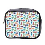 Blue Colorful Cats Silhouettes Pattern Mini Toiletries Bag 2-Side