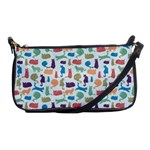 Blue Colorful Cats Silhouettes Pattern Shoulder Clutch Bags