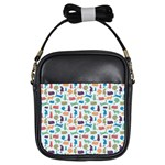 Blue Colorful Cats Silhouettes Pattern Girls Sling Bags