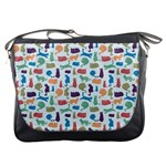 Blue Colorful Cats Silhouettes Pattern Messenger Bags