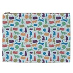 Blue Colorful Cats Silhouettes Pattern Cosmetic Bag (XXL)