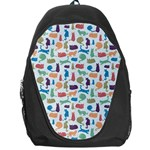 Blue Colorful Cats Silhouettes Pattern Backpack Bag