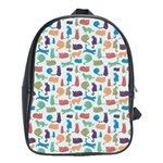 Blue Colorful Cats Silhouettes Pattern School Bags (XL)