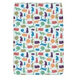 Blue Colorful Cats Silhouettes Pattern Flap Covers (L)