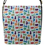 Blue Colorful Cats Silhouettes Pattern Flap Messenger Bag (S)