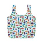 Blue Colorful Cats Silhouettes Pattern Full Print Recycle Bags (M)