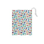 Blue Colorful Cats Silhouettes Pattern Drawstring Pouches (Small)