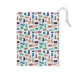 Blue Colorful Cats Silhouettes Pattern Drawstring Pouches (Large)