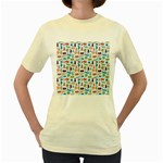 Blue Colorful Cats Silhouettes Pattern Women s Yellow T-Shirt