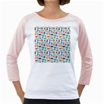 Blue Colorful Cats Silhouettes Pattern Girly Raglans
