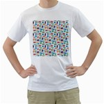 Blue Colorful Cats Silhouettes Pattern Men s T-Shirt (White) (Two Sided)