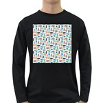 Blue Colorful Cats Silhouettes Pattern Long Sleeve Dark T-Shirts