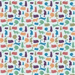 Blue Colorful Cats Silhouettes Pattern Canvas 12  x 12