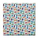 Blue Colorful Cats Silhouettes Pattern Tile Coasters