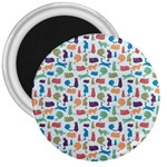Blue Colorful Cats Silhouettes Pattern 3  Magnets