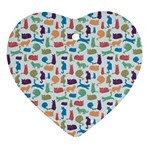 Blue Colorful Cats Silhouettes Pattern Ornament (Heart)