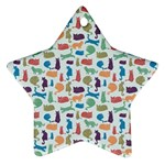 Blue Colorful Cats Silhouettes Pattern Ornament (Star)
