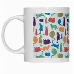 Blue Colorful Cats Silhouettes Pattern White Mugs