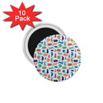 Blue Colorful Cats Silhouettes Pattern 1.75  Magnets (10 pack)