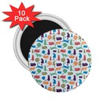 Blue Colorful Cats Silhouettes Pattern 2.25  Magnets (10 pack)