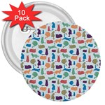 Blue Colorful Cats Silhouettes Pattern 3  Buttons (10 pack)