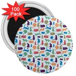 Blue Colorful Cats Silhouettes Pattern 3  Magnets (100 pack)