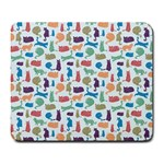 Blue Colorful Cats Silhouettes Pattern Large Mousepads