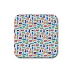 Blue Colorful Cats Silhouettes Pattern Rubber Coaster (Square)