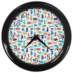 Blue Colorful Cats Silhouettes Pattern Wall Clocks (Black)