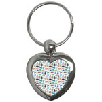 Blue Colorful Cats Silhouettes Pattern Key Chains (Heart)