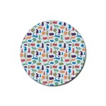 Blue Colorful Cats Silhouettes Pattern Rubber Round Coaster (4 pack)